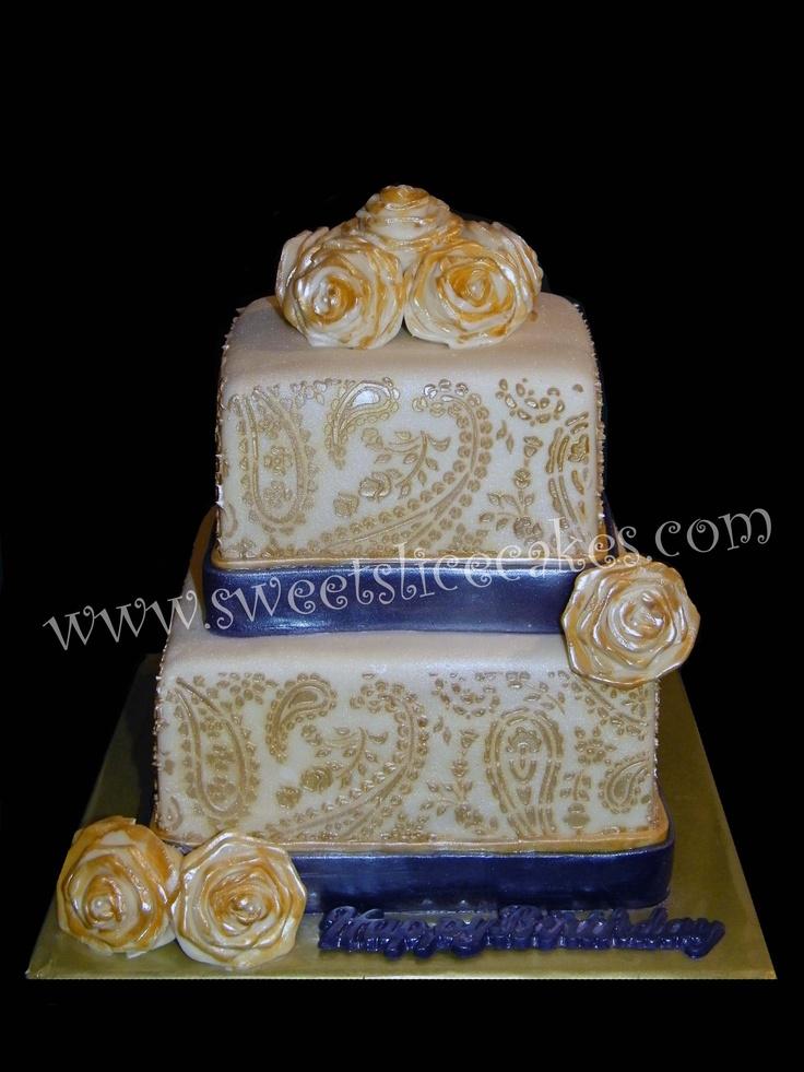 Mehndi Cake Stencil : Henna mehndi design th birthday cake matched the