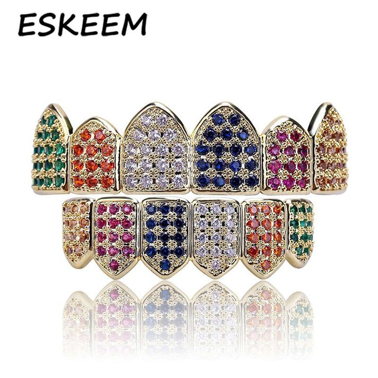 Multi-Color CZ Diamond Iced Out Hip-hop Jewelry for Rappers Custom Grillz Teeth for Sale