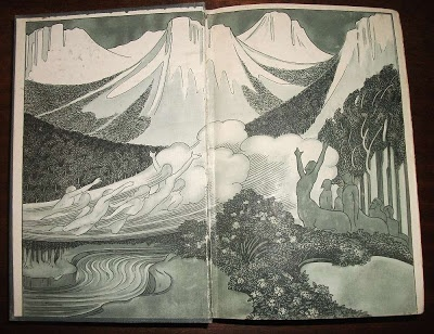 Endpapers for Algernon Blackwood's  1911 novel The Centaur by W. Graham Robertson.