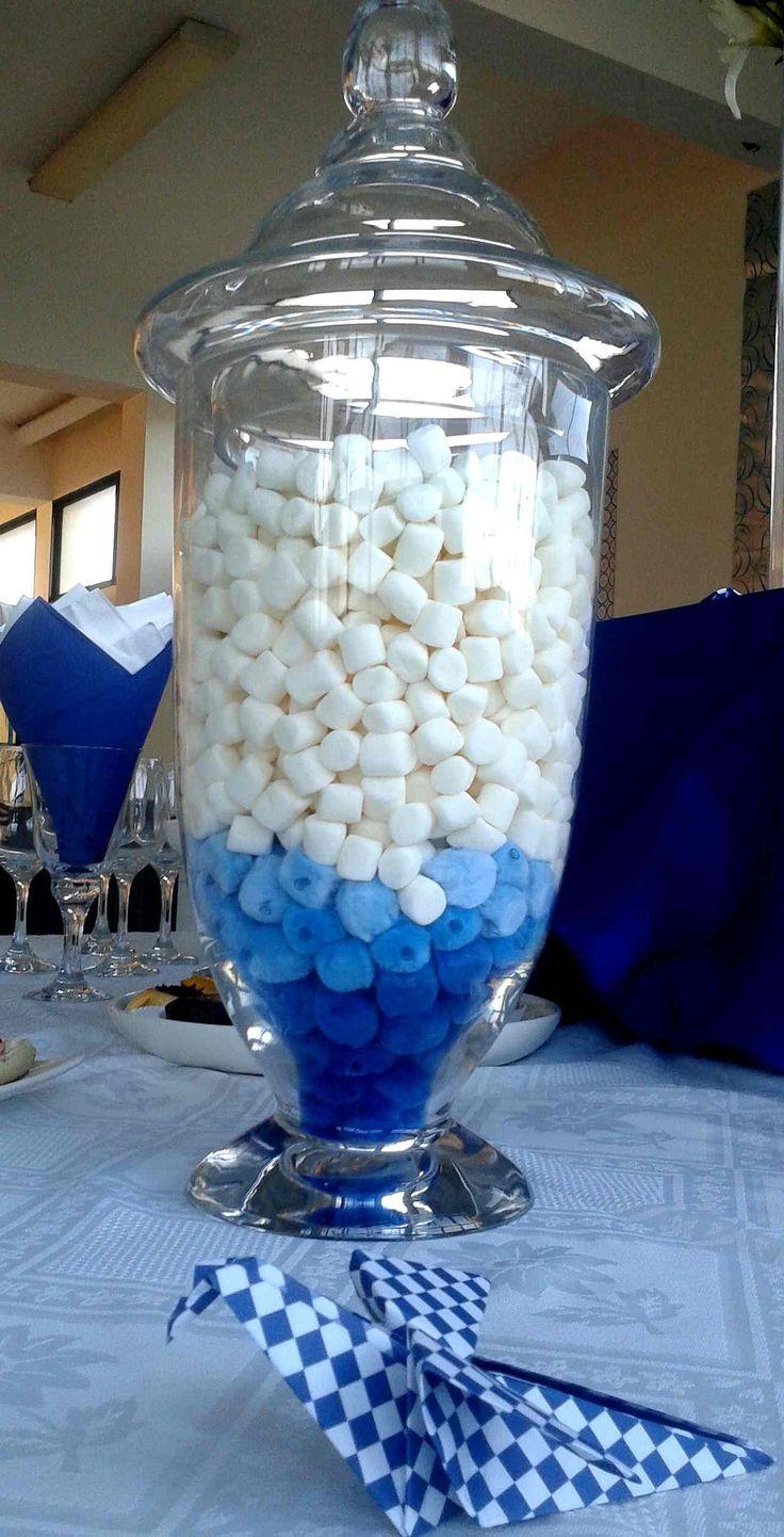 Decoración con marshmallows y pájaros de origami.