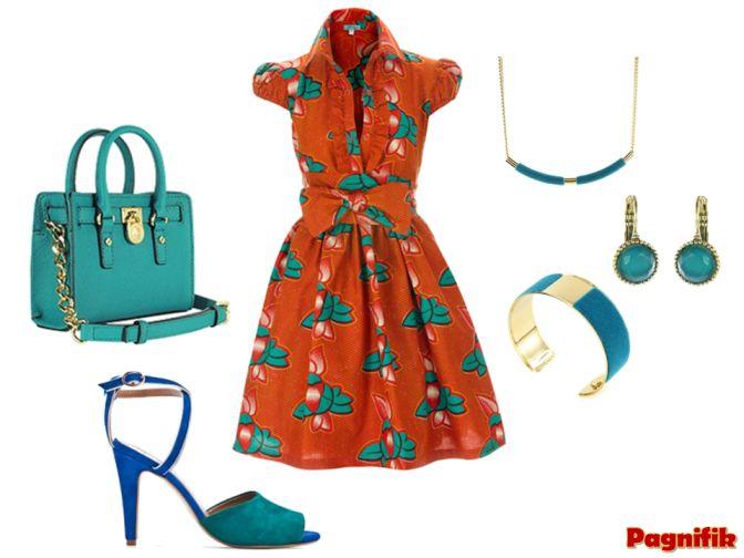 Robe Sika Design  Sac Michael Kors bleu turquoise  Chaussures bleu turquoise/bleu roi Mango  Bijoux fantaisiste bleu turquoise