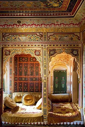 Heavely ornated interior of the Patwa Haveli, Jaisalmer, Rajasthan, India