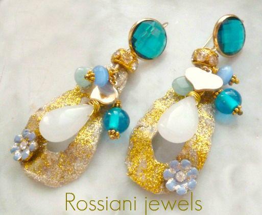 Color drops, blue - semi precious stones and brass - Rossiani Jewels - Italian handmade jewels - Made in Italy