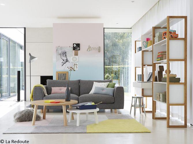 le salon - rafraîchir sa pièce - tie and dye rose et bleu pink and blue living room