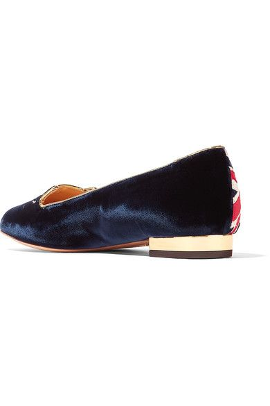 Charlotte Olympia - Kitty Embroidered Velvet Slippers - Midnight blue