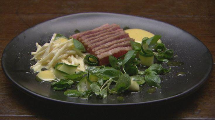 Seared Tuna with Celeriac, Watercress and Zucchini Salad with Basil Oil