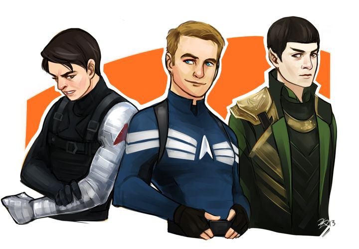 Bones = The Winter Soldier, Jim = Captain America, Spock = Loki  I WANT THIS IN A FANFICTION!!!  I know what I'm doing this weekend...