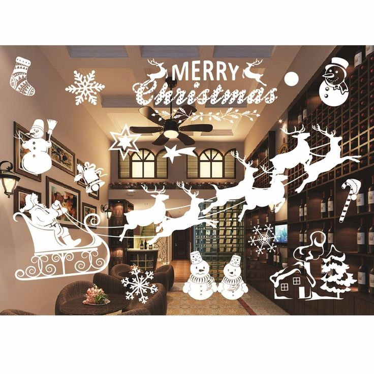 Стикер стены DIY Рождественская Елка домашнего декора наклейки для гостиной магазин украшения окон Снеговик 9 стили
