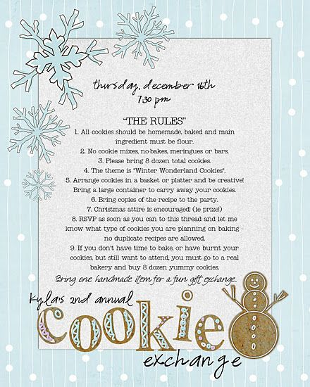 The invitation to Cookie exchange party.....here are the rules....so much fun....I'm lovin' it.