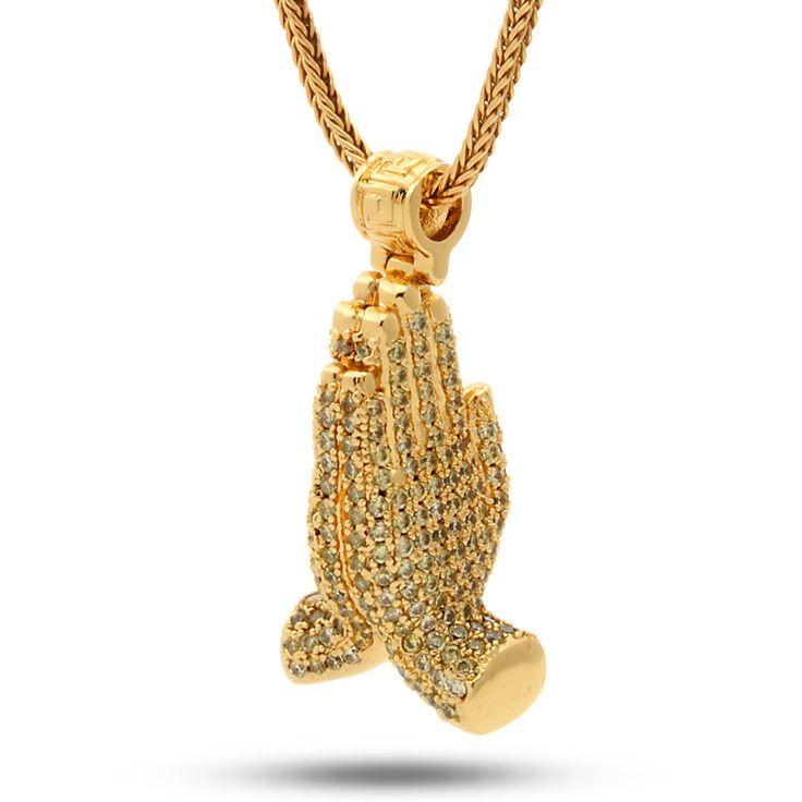 18K Gold Worship Hands Emoji Necklace