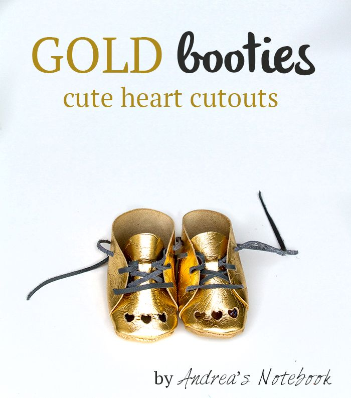 Adorable gold booties with heart cutouts. AndreasNotebook.com: Baby Schuhe, Diy Baby Things, Baby Booty, Leather Baby, Flutterbymountain Baby, Baby Penelope, Baby Booties, Gold Baby, Baby Shoes