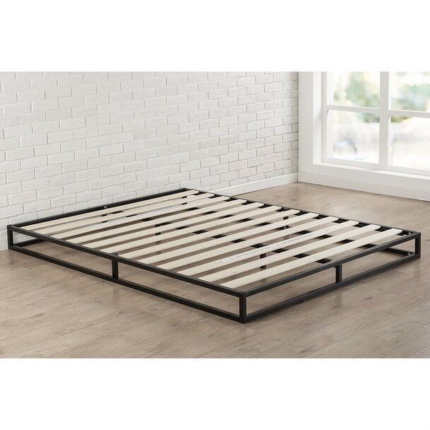 King 6 Inch Low Profile Metal Platform Bed Frame With Wooden Support Slats Metal Platform Bed Low Profile Bed Frame Low Platform Bed Frame