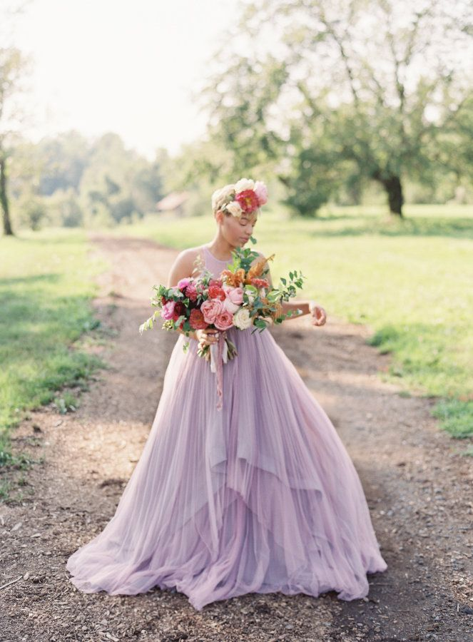 Lilac layered ModCloth wedding gown: http://www.stylemepretty.com/2016/10/13/the-bride-wore-a-lilac-wedding-gown-and-were-obsessed/ Photography: Michael and Carina - http://www.michaelandcarina.com/