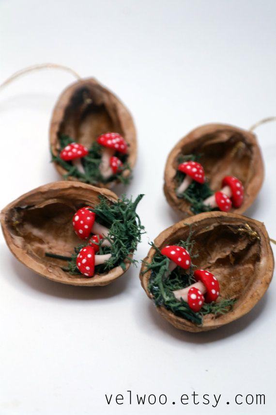 Set of mushroom Ornaments Christmas ornaments walnut by Velwoo