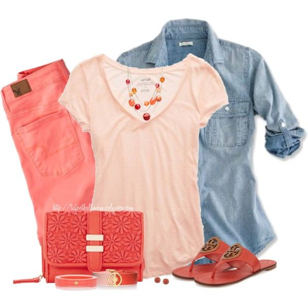 Denim Top and Colored Jeans by tufootballmom on Polyvore featuring Aerie, American Eagle Outfitters, Tory Burch, Kate Spade, Style & Co., Carolee and J.Crew