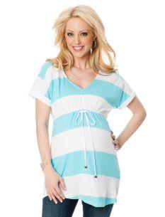 Bump Start Short Sleeve V-neck Tie Detail Maternity Tunic   Motherhood Maternity