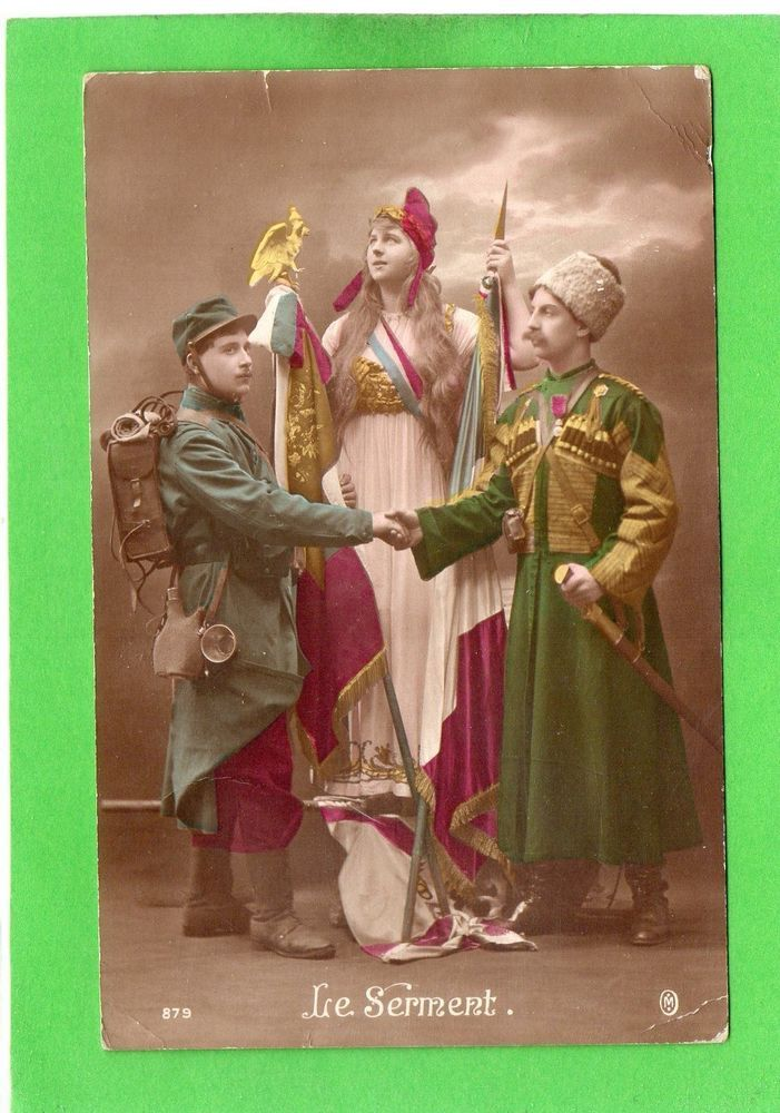 (Henry Collection)  WW1-PATRIOTIQUE-GUERRE-WAR-POILU-MARIANNE-SOLDAT DRAPEAU RUSSE-RUSSIE-COSAQUE