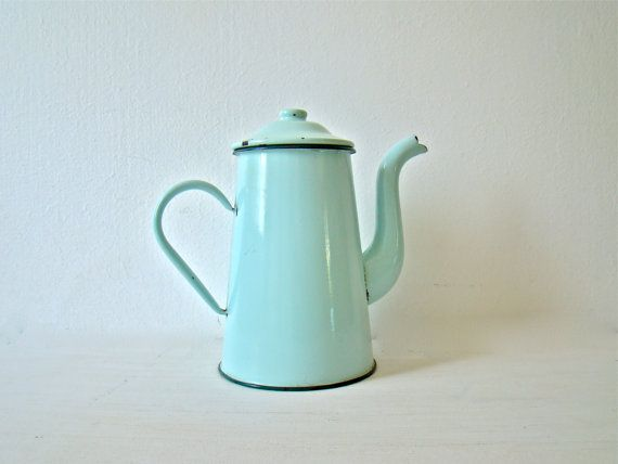antique french enamel coffee pot mintgreen french home decor enamelware coffepot