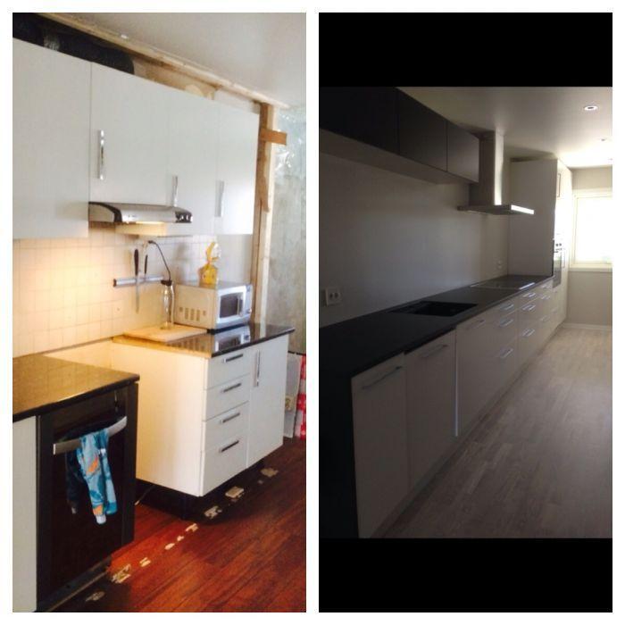 Før- og etter renovering av #kjøkken.
