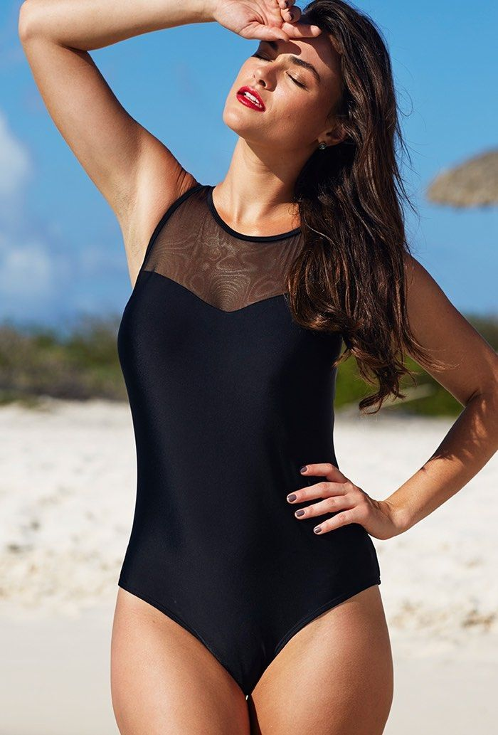 64dcd92f6106c Tropiculture Swimsuits for All Black Mesh High-Neck Plus Size Swimsuit