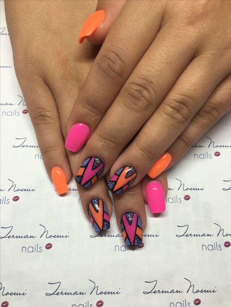 Colorful nails, pink, orange, summer nails, love nails! ❤️