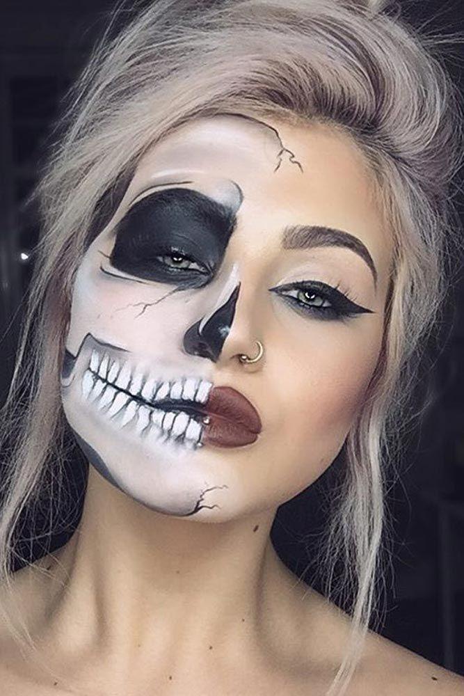 This half skeleton, half retro makeup look is Halloween perfection.
