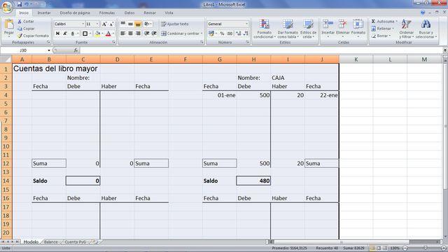 Aprende a crear tus cuentas T para llevar la contabilidad con hojas de cálculo: Imprime y usa tantas veces como quieras las cuentas T