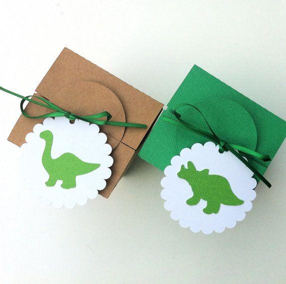 Dinosaur gift tags with ribbons.