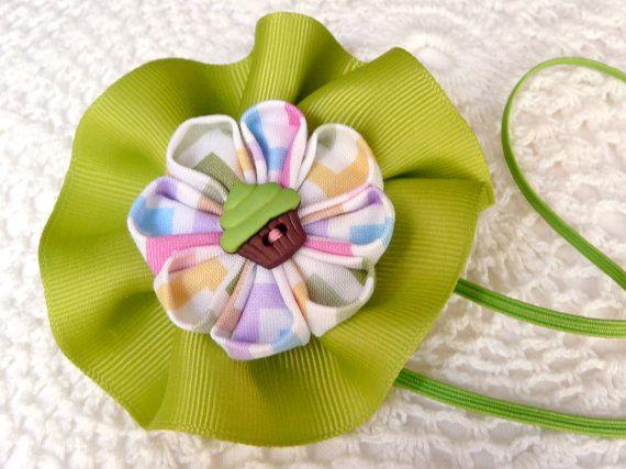 Key lime cupcake kanzashi flower headband