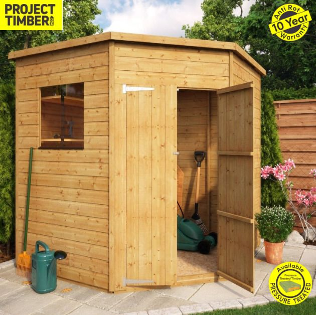 7x7 Pressure Treated Window Wooden Garden Corner Shed With Double Door Wooden Ebay Corner Sheds Wooden Garden Shed