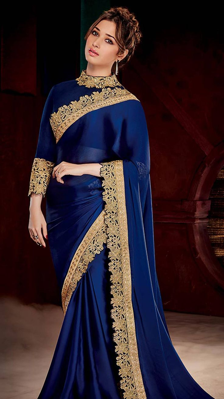 Indian Beauty Blue Silk Sari must visit :) https://www.facebook.com/punjabisboutique
