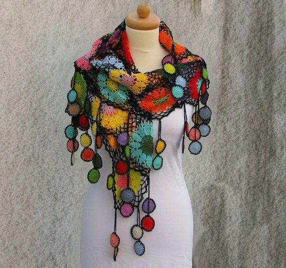 Frauen Accessoires bunte Gehäkelte Baumwolle Schal von kovale