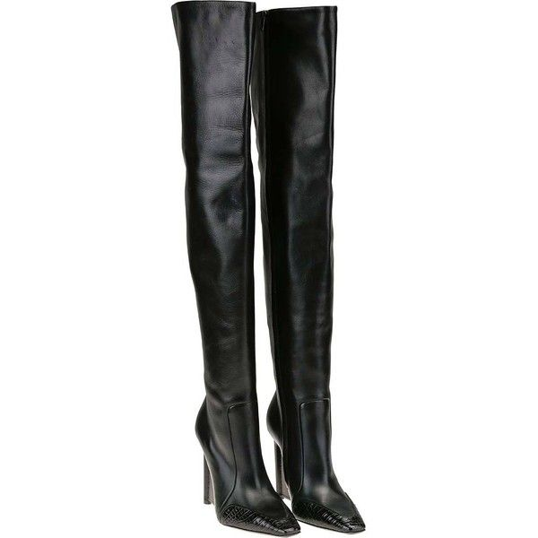 Inseller - Women Boots Balenciaga Black Leather Croc Detail Over The... ($667) ❤ liked on Polyvore featuring shoes, boots, black over-the-knee boots, croc boots, above the knee boots, black boots and crocodile boots