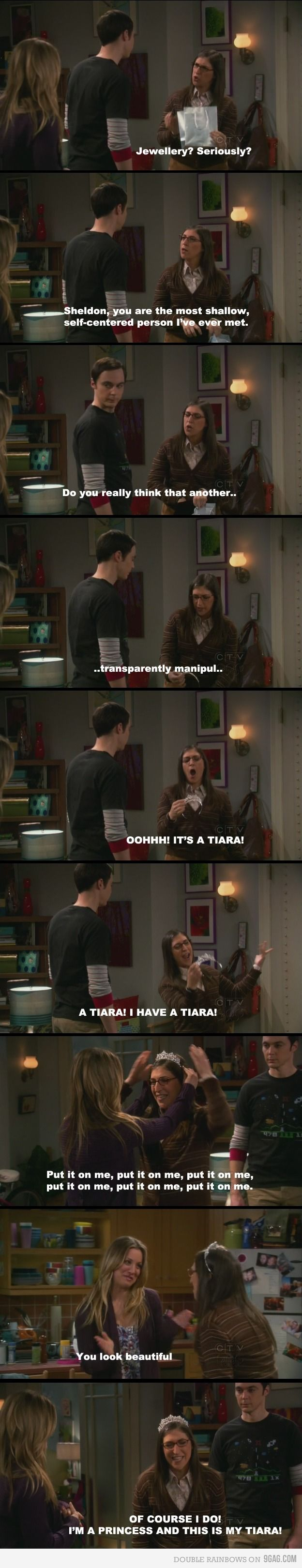 big bang theory: Favorite Scene, Laughing, Girls, Big Bang Theory, Amy Farrah Fowler, Big Bangs Theory, Funny, Princesses, Tiaras