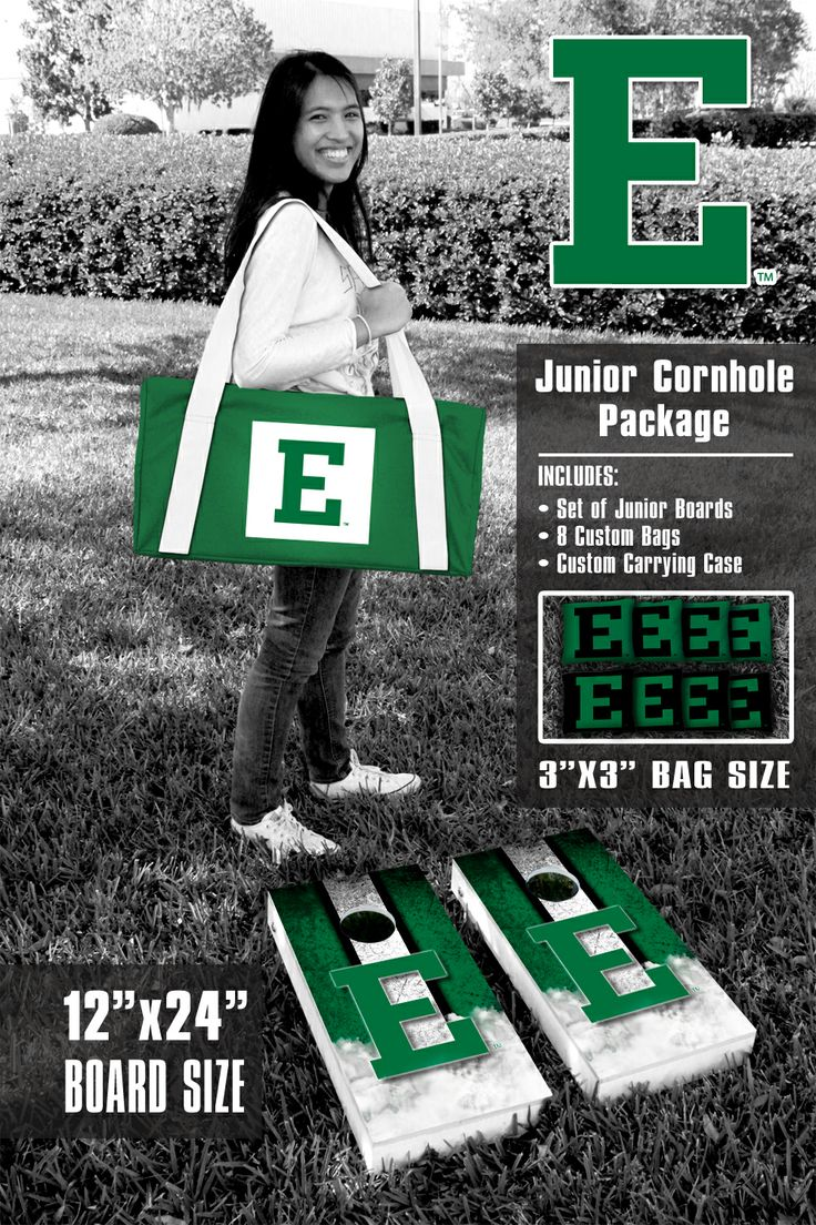 Our Eastern Michigan University Eagles Junior 12x24 Cornhole Game Package. Get your custom set at victorytailgate.com