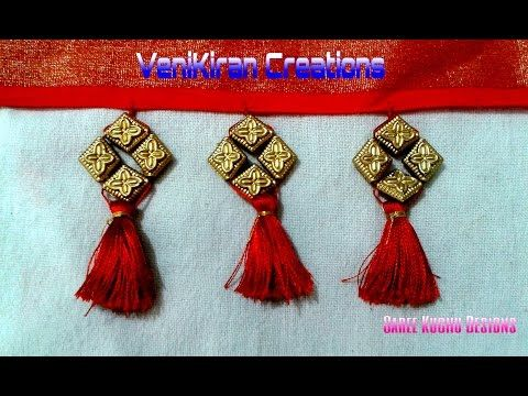 How to Make Saree Tassel/Kuchu design with Beads at Home - Design 15::Tutorial - YouTube