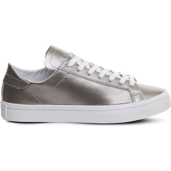 Adidas Court vantage metallic leather trainers ($53) ❤ liked on Polyvore featuring shoes, sneakers, adidas sneakers, sports trainer, perforated shoes, jogging shoes and genuine leather shoes