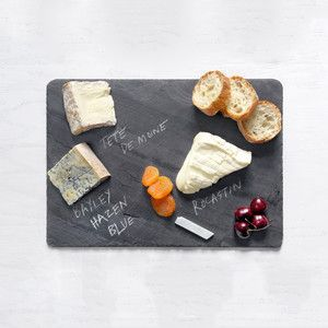 black slate cheese board -- write right next to the cheese so everyone knows what you're serving -- too cool