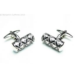 Harlequin Canister Cufflinks - Black diamond patterned Cufflinks with a criss-cross pattern of lines
