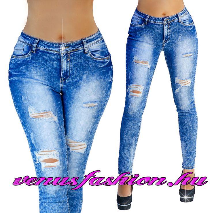 Divatos női szaggatott farmer nadrág XS S M L XL méretekben - Venus fashion női ruha webáruház