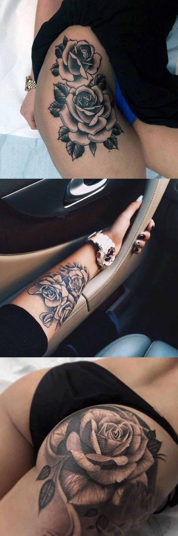 Realistic Black Rose Flower Floral Thigh Leg Arm Wrist Bum Tattoo Ideas for Women at MyBodiArt.com
