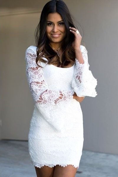 Mini Vestido Branco de Renda Glamour