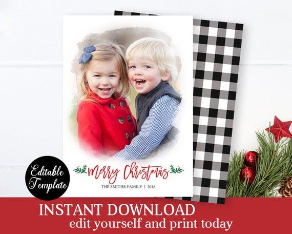 Black And White Buffalo Plaid Christmas Card Photo Template Printable Xmas Card Plaid Christmas Card Buffalo Plaid Christmas Card Christmas Photo Card Template