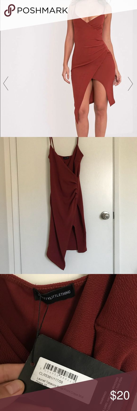 Assymetrical Rust Going Out Dress 🔥🔥🔥 Low cut, asymmetrical, sexy! Fabric is actually pretty thick too! US 6, UK 10. Never worn! pretty little thing Dresses Asymmetrical
