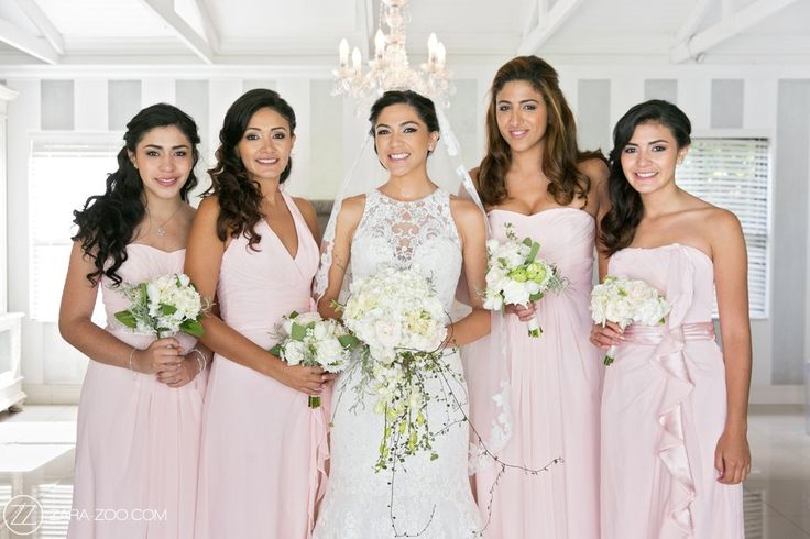 Soft pink Bridesmaid dresses in different designs. Perfectly matches the romantic feel of this wedding at Brenaissance. #zarazoo