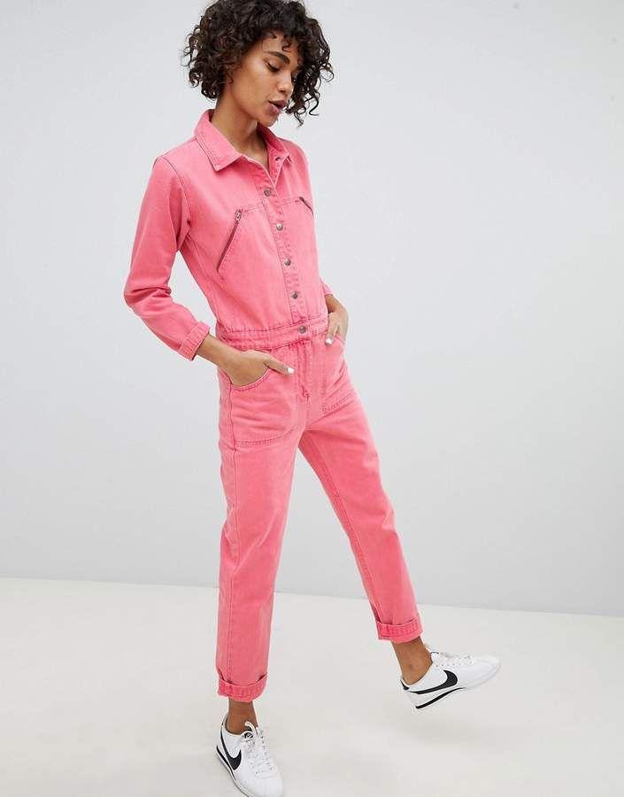 0fddca4bfc73 DESIGN denim boilersuit in pink | Products | Boiler suit, Denim ...