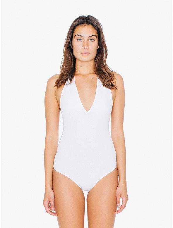 Cotton Spandex Halter Bodysuit (Boston Calling...) | American Apparel