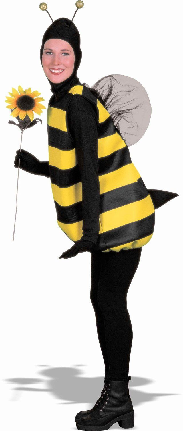 Description #54122 Buzz around the neighborhood this Halloween as the Bumble Bee. The Bumble Bee Costume includes yellow and black striped tunic and pair of wings. A matching character hood with anten