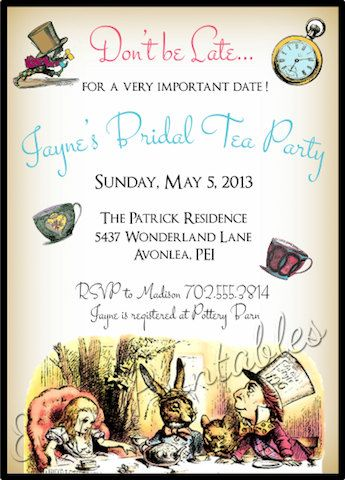 Alice in Wonderland Invitation Bridal Shower by EventPrintables instead of tea i would have wine