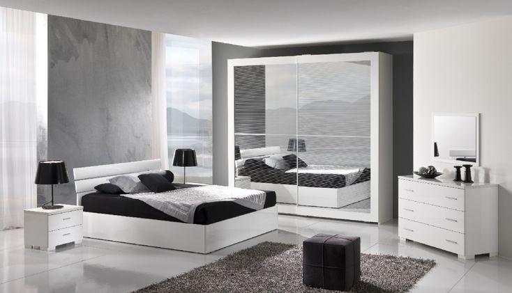 Da farsi con variante di pareti bianche e comodini neri. Ma anche la parete grigia a me non spiace. Per il letto il flou Argan bianco o equivalente.